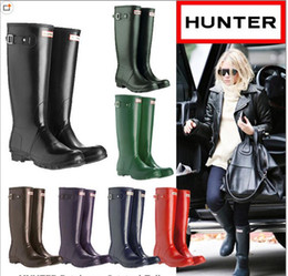 Wholesale Hunter Rain Boots Women Wellies Rainboots Women Rainboots Rain Boots Waterproof Ms glossy Hunter glossy Wellington Knee Boots