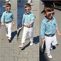 Autumn Kid Boy Plaid Set Clothes Gentleman Long Sleeve Blue Shirt Top+White Cotton Trouser Pant+Belt 3 Piece Suit For Children Tracksuit