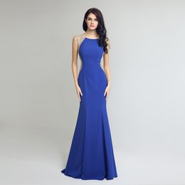 Wholesale Sexy Black Dress For Sale - Hot Sale Zip Mermaid Royal Blue Evening Gowns Luxurious Beads Sexy See Through Arabic Celebrity Prom Dresses for 2016 Formal Women Party