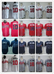 Wholesale Chipper Jones Atlanta Braves baseball Jerseys Jason Heyward White Home Gray Road Red Cream Alternate Stitched cheap Baseball jerseys
