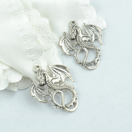 wholesale 70pcs vintage silver plated Dragon charms metal pendants for necklace & bracelets jewelry making 35*28mm 1928