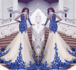 2017 New Dubai Mermaid Prom Dresses Royal Blue Lace Appliques Sheer Sexy See Through Back Long Sleeves Vestios De Fistea Evening Gowns