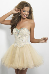 Wholesale Real Pictures Lovely Lace And Tulle Homecoming Dresses A Line Sweetheart Sleeveless Short Mini Color Champagne Lace Up Corset Tie Back