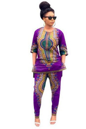 2016 Dashiki Traditional African Clothing Two Piece Set Women Africaine Print Loose Tops+Pants Summer Autumn Clothes