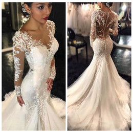 Wholesale 2016 New Gorgeous Lace Mermaid Wedding Dresses Dubai African Arabic Style Petite Long Sleeves Natural Slin Fishtail Bridal Gowns