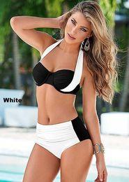 Wholesale Swimsuit Plus Sizes Free Shipping - 2016 New Women Sexy Bikini Split Two-pieces Bikini swimsuits Plus size Swimwear High waist Mixed Colors Cross Swim suits Free Shipping~XL101
