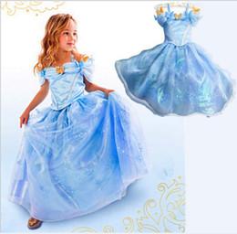 Cenicienta niños vestido del partido en Línea-2016 Nueva Cenicienta Niñas Vestido Azul Princesa Traje Fiesta Vestido De Bola Vestido Niñas Vestido Vestido Vestido De Diamantes Vestido