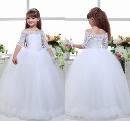 Beautiful Boat Neck Flower Girl Dress Lace Up Ball Gown Half Sleeve Communion Dress Cap Sleeve Pageant Dress Birthday Party Gown