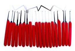 Manganese Steel 20pcs set Locksmith Lock Picks Tools With Red Handle for House Door Opener