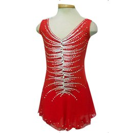 Customized Attractive V-neck Red Beaded Skating Dresses Sleeveless Spandex Graceful New Brand Fashion Figure Skating Dress For Competition
