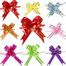 100pcs 8 Couleur Tirez la bande de ruban Décoration Bow Wrap Cadeau de mariage Car Decor Décorez cadeaux de mariage de porte de voiture à partir de arcs décorations mariage fournisseurs