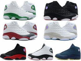 Wholesale Famous Trainers 13 XIII Retro 13s Hologram Men's Sports Basketball Shoes Barons (white black grey teal) Outdoor Sneakers US6-11-12