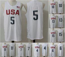 Wholesale 2016 Mens Olympic USA Basketball Jersey Player White Basketball Jerseys USA Olympic Basketball Jersey All Stitched