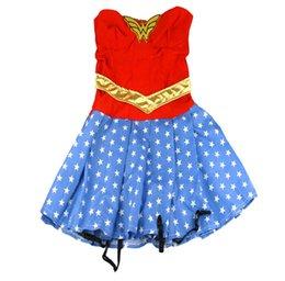 Wholesale Halloween Wonder Woman Superfrau Kostüm Frauen Sexy Mode Phantasie Party Kleider