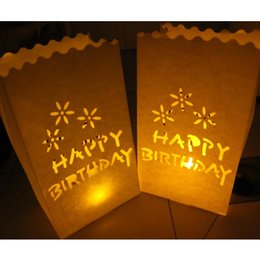 Compra Online Velas de cumpleaños barcos-20pcs / lot FELIZ CUMPLEAÑOS Vela bolsita de té de luz Luminarias Los titulares de papel Bolsas de la linterna para el envío libre de la decoración de la fiesta de cumpleaños