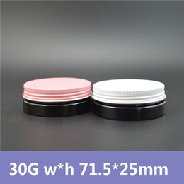 Wholesale 50pcs g Dark Black Plastic Cans with Pink White Lids PET Canning Cosmetic Jars Cream Container