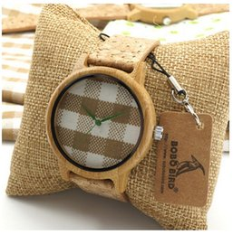 Wholesale Men Handmade Bamboo Wristwatch with box Leather Band and Wood Gift Box BoBo Bird Wooden Watches for Friends