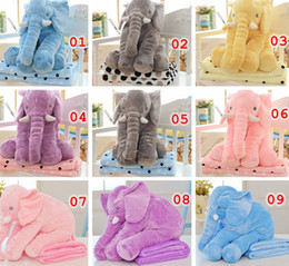 Wholesale Pillow Blanket Set Elephant Soft Plush Pillow Blankets Animal Stuffed Dolls Toys Cartoon Sofa Bedding Throw Pillow Cushion Color choose