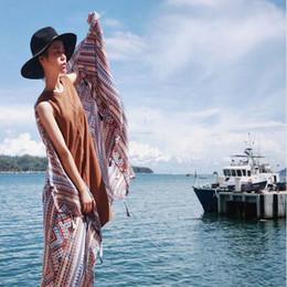 Wholesale Hot Sale Aztec Scarf With Tassels Vintage Geometric Shawls Fashion Shemagh Print Muslim Hijab Arab Wraps Luxury Brand Foulard FS61017