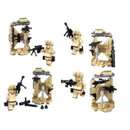 Wholesale 4PCS Desert Falcon Commandos War Army Soldiers Equipment Weapon Gun Building Blocks Toys SWAT Military Minifigures Brick Super Hero Kid Baby