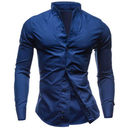 Wholesale-2016 new solid color collar comfortable fabrics men designer shirts casual fashion chemise homme marque luxe