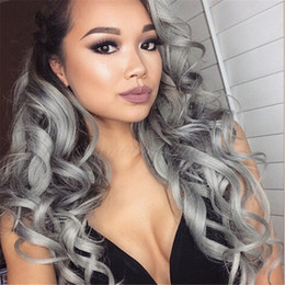 New Arrival 9A #1B grey Ombre Hair Wig Loose Wave Full Lace Wig Ombre Sliver Grey Lace Front Wig For Black Woman