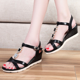 2016 Summer New Women's Wedge Platform Open toe Rhinestones Sandals with buckle Black and Beige colors for choice in 35-39