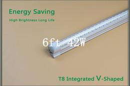 Wholesale ONLINE ACTION V Shaped ft Cooler Door Led Tubes T8 Integrated Led Tubes Double Sides SMD2835 Led Fluorescent Lights AC V CE FCC ROHS