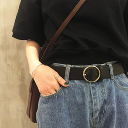 Wholesale Magazine street snap tide joker sheet is tasted contracted round metal PU leather women s obi needle belt buckle