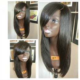Wholesale Silk Top Glueless Full Lace Human Hair Wigs With Bangs Silky Straight Silk Base Lace Front Wig With Baby Hair For Black Women