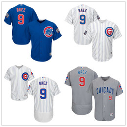 Wholesale Chicago Cubs Javier Baez with World Series Patch Years at Wrigley Field Commemorative Patch White Gray Blue Baseball Jerseys