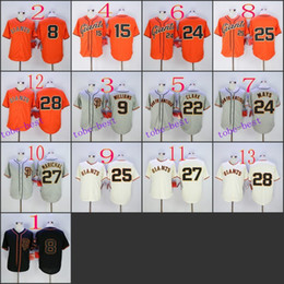 Wholesale San Francisco Giants bruce bochy Baseball Cool Base Jersey Best quality Authentic Jerseys Embroidery Logo Size M XL Mix Order