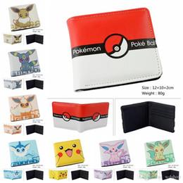 Wholesale PokéMon Go Short Wallet Designs Colorful Pocket Monster Poké Ball PU Purse Fashion Poke Mon Pikachu Eevee Card Holders