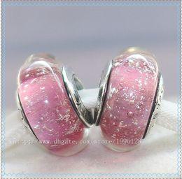 5pcs 925 Sterling Silver Screw Core Annas Signature Color Fluorescence Murano Glass Bead Fit European Pandora Charm Jewelry Bracelets