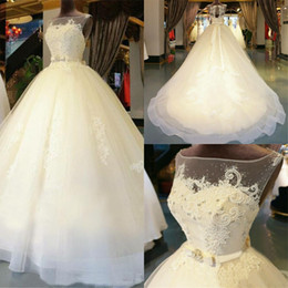 2019 Organza Appliques Floor-Length Ball Gown Illusion Wedding Dresses Chapel Train Zipper Beaded Crystal Bridal Gowns Custom made