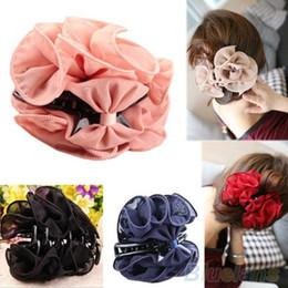 La mandíbula para el cabello en Línea-Arco de mandíbula belleza de la gasa de la flor de Rose de las mujeres coreanas del clip pasador de pelo de la garra Garras 1K6L
