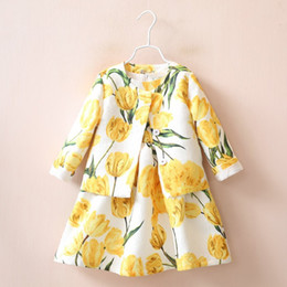 Wholesale Fashion children girls tulip printing outfits Autumn dress coat set Cotton baby outfits kids Clothes C1177