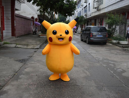 Yellow Pikachu Mascot Costume Pikachu Adult Cartoon Character Costumes Pikachu Mascot Costumes Fancy Dress Party Suit
