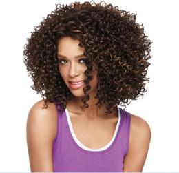 2017 resistente para el cabello de calor Moda natural Kinky curl resistente al calor del pelo de la máquina Made Brown con color negro Hightlight pelucas sintéticas con franja presupuesto resistente para el cabello de calor