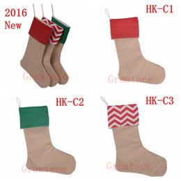 Wholesale high quality canvas Christmas stocking gift bags canvas Christmas Xmas checvron stocking decorative socks bags inch