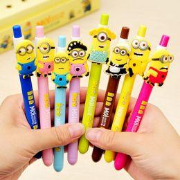 8 pcs Lot Cartoon Gel pen Cute minions 0.5mm black ink pens zakka Stationery Canetas Office accessories school supplies 6741