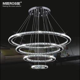 Acheter en ligne Miroirs suspendus décoratifs-Miroir en acier inoxydable de cristal de diamant Éclairage 4 Anneaux Lampe LED Lampe suspendue Cristal Dinning décorative Suspendre