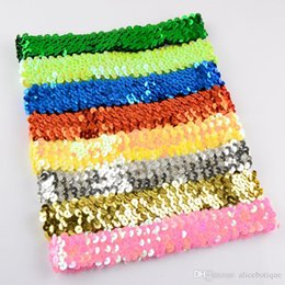 Wholesale Stretch Sequin For Headbands - free shipping 100pcs 1'' Sequin Headbands Baby Headbands For Girl Stretch 1 Inch Sequin Headband 16 Colors