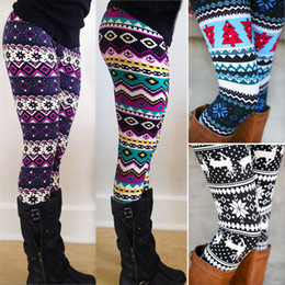 Wholesale Aztec Leggings For Women Stretchy Knit Christmas Snowflake Leggings Ankle Length Tribal Printed Casual Skinny Slim Legging