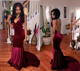 New Design Evening Dresses Plunging V Neck Backless Burgundy Velvet Mermaid Long Court Train Formal 2k16 Prom Dress Cheap Party Gowns