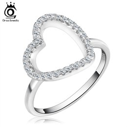 Orsa Jewels Heart Shaped Silver Ring with Micro Paved AAA Cubic Zirconia Love Ring for Wife OR75