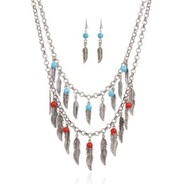 Wholesale fashion trend retro leaf multi layer beaded tassel statement necklace choker necklace earring jewelry set hot sale