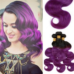 cheap Purple Ombre Weave Brazilian Virgin Body Wave Black and Purple Human Hair Extensions Ombre Remy Weft 4 bundle deals freeship