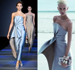 Christmas Silver Evening Dresses Maxi Off The Shoulder Strapless Prom Dress Satin Ruffles Tiered Tea Length Sheath Party Gown 2019 Winter