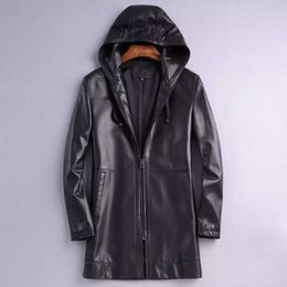 Wholesale Genuine leather jacket outerwear shoppe clothing with hat design zippers with logo import sheepskin made classic coat wear luxury handsome